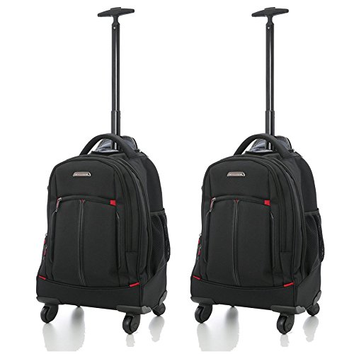 Aerolite 4 Wheeled Laptop Rucksack Overnight Weekend Trolley Backpack Business Luggage Cabin Bag - Fits Laptop up to 15.6', Set of 2