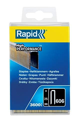 RAPID, 40303095, Agrafes N°606, Longueur 25 mm, 3600 Pièces, Pour Charpenterie et Matériaux résistants, Fil galvanisé enduit de résine, Haute performance Gris