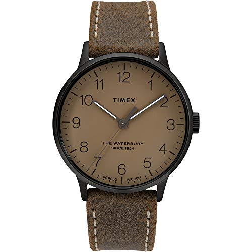 Timex Herren Analoger Quarz Uhr mit Echtes Leder Armband TW2T27800