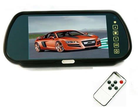 BW® 17,8 cm 16 : 9 TFT LCD écran voiture Rétroviseur Moniteur avec bouton tactile, HD 800 (W) x 480 (H) Résolution d'écran, support voiture automatique écran miroir pour deux façons de sortie vidéo, V1/V2 sélectionner