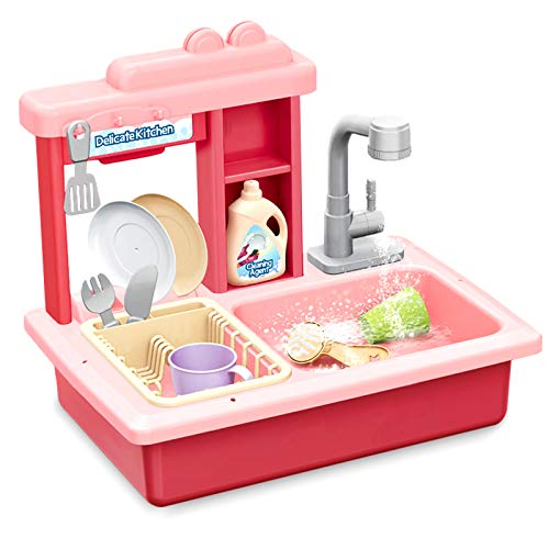Kids Kitchen Play Sink Dishes Toys, Electric Dishwasher Playing Sink Toy with Running Water Play House Pretend Role Play Kitchens Set Toys for Girls Toddlers - Childrens Kitchen Helper Playsets