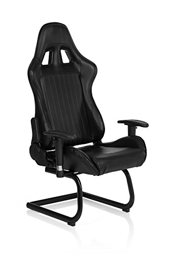 HJH Office - 729040 silla gaming SAO PAULO V piel sintética negro, buen acolchado, apoyacabezas integrado, muy cómodo, con apoyabrazos ajustables, estable, con cojines, silla inclinable