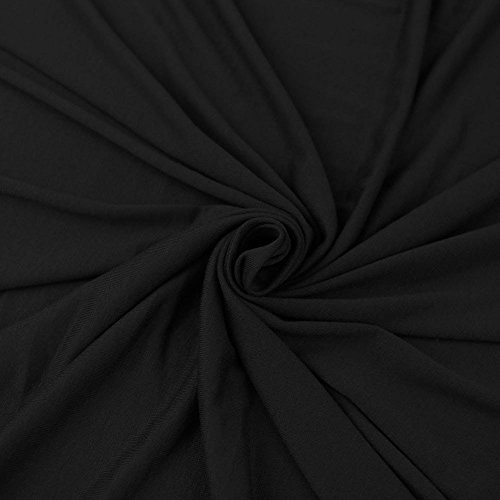 FabricLA Cotton Spandex Jersey Fabric 12 oz - Solid Colors (2 Yards, Black)