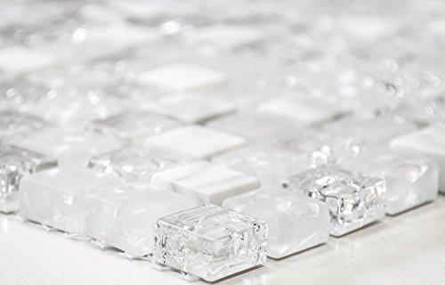 Mosaik-Netzwerk Quadrat Crystal/Stein mix weiss Glasmosaik Transluzent Transparent 3D, Mosaikstein Format: 15x15x8 mm, Bogengröße: 60 x 100 mm, 1 Handmuster ca. 6x10 cm
