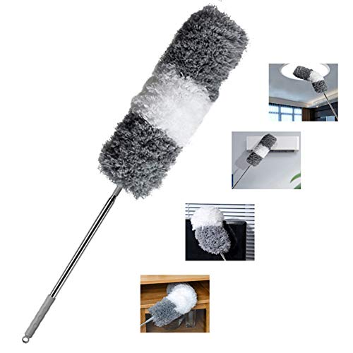 Rexyuptzz Improved Extra Long Microfiber Duster with Extension Pole (30 to 100 inches) Scratch-Resistant Cover, Bendable, Washable, Lint Free Feather Dusters for Cleaning Roof, Ceiling Fan, Blinds