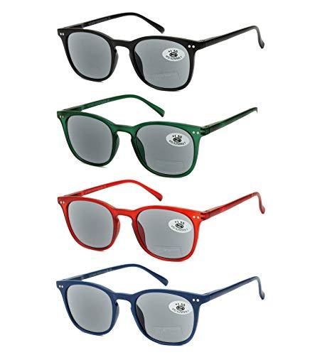 Pack de 4 Gafas de Lectura de Sol Vista Cansada Presbicia con Protección UV 100%, Graduadas Dioptrías +1.00 hasta +3.50, Montura de Pasta, Bisagras de Resorte, Unisex (+350 (836))