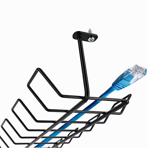 KADAX Canaleta horizontal de acero, 72,5 x 16,5 x 8,7 cm, cubierta horizontal para cables, soporte atornillable, bandeja para cables montaje bajo mesa, cesta para cables (negra)