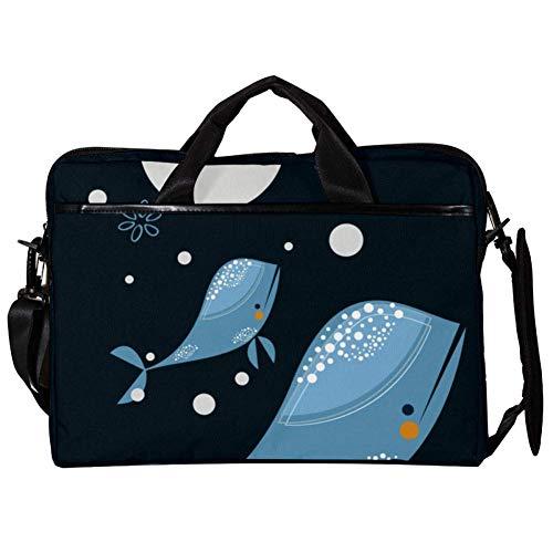 Blue Whale Laptop Case Shoulder Bag for Notebook Computer Tablet with Adjustable Shoulder Strap Canvas Messenger Carrying Briefcase Handbag Sleeve for Woman,Man 15x11x1inch