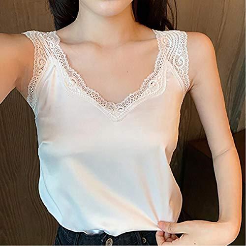 WEDFGX Camisola sin Espalda de Encaje Negro Seda Satinada Tops de Verano Camiseta sin Mangas Ropa de Mujer Chaleco Camisero Blanco