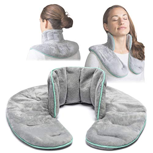 VITNESSE Microwavable Neck Wrap - Weighted Herbal Aromatherapy Heating Pad for Neck & Shoulders (Men & Women) – Neck Wrap for Muscle Pain, Anxiety & Stress Relief (Grey)