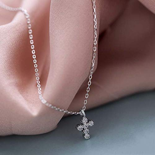 DGFGCS Ladies silver necklace 925 Sterling Silver Cubic Zirconia Cross Pendant Gold Color Chain Cz Collar Necklace For Women Charm Fine Jewelry Gifts