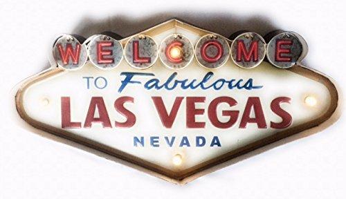 DiiliHiiri Cartel Retro Luminoso Vintage Letrero Metálico Artesania Accesorios Decoración Hogar (Las Vegas)