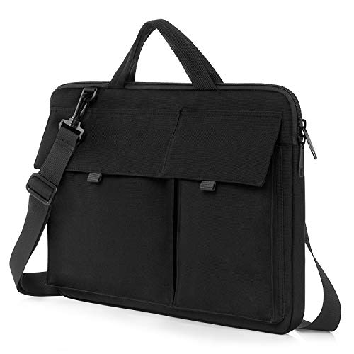 KINGSLONG Laptop Sleeve Case 15.6 Inch Ultra-Slim Padded Laptop Computer Pouch Bag Cover with Handle Pocket Tablet Briefcase Carrying Bag Compatible with Acer/Asus/Dell/Lenovo (15.6 in, Black)
