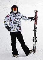 マルユキ スノーボードウェア スキーウェア スノーウェア 耐水圧10,000mm 透湿性5,000g おしゃれ 格好いい メンズ レディース 上下セット 防寒 (スキー・F1, XXL)