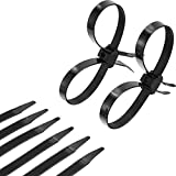 20 Pieces Disposable Tie Double Flex Zip Ties Cable Tie Nylon Tie Restraints, Black