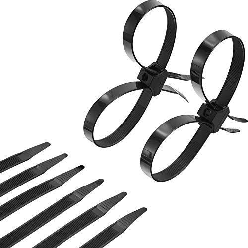 20 Stücke Einweg Krawatte Doppelt Biegen Reißverschluss Krawatten Kabelbinder Nylon Krawatten Halter, Schwarz