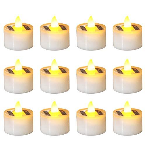 Solar Teelicht, FunPa Solarkerzen Außen Interior Flammenlose Kerzen Solar Kerze Teelichter Nachtlicht für Partei Hof Decoration