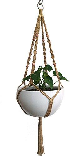 Suspension pour plante en macramé - Pour pot de fleur de 25,4 cm - 4 branches - En corde de chanvre naturel - Avec anneau en métal - 111,8 cm - Sans le pot blanc et sans la plante