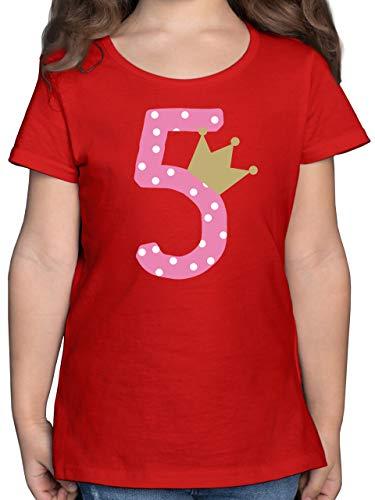 Preisvergleich Produktbild Geburtstag Kind - 5. Geburtstag Krone Mädchen - 128 (7 / 8 Jahre) - Rot - Tshirt 5. Geburtstag mädchen - F131K - Mädchen Kinder T-Shirt