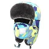 Dinokids Unisex-Baby Winter Trooper Hut Ushanka russische Ohrenklappen Fliegermütze mit Maske Kopf 52-56cm for 5-15t Camouflage Gelb