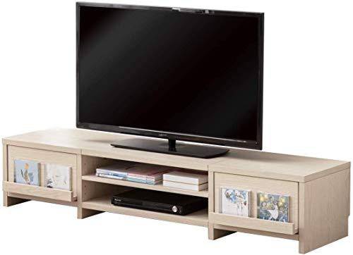 タンスのゲン テレビ台 幅150cm ロータイプ 木製 ローボード ディスプレイ収納 耐荷重約50kg 32型~50型 ホワイトオーク 68070002 14 (72112)