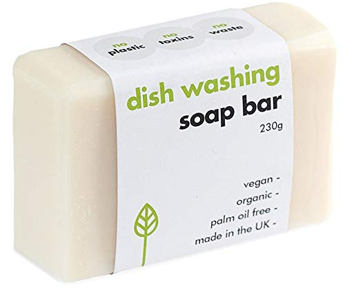 ECO LIVING Washing up Soap Bar 155g VEGAN, PLASTIC FREE, CLEANS DISHES, TOUGH ON GREASE, GENTLE ON HANDS, 100% NATURAL