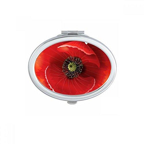 DIYthinker Fleur Rouge Peinture Big Pavot Ovale Maquillage Compact Miroir de Poche Miroirs Mignon Petit Cadeau Portable à la Main Multicolore