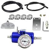 Universal Adjustable Fuel Pressure Regulator Kit Aluminum Gas Oil Injection Pressure Regulator with 0-140 PSI Gauge, AN6-6AN Fuel Line Hoses, Install Tool Accessories (Blue)