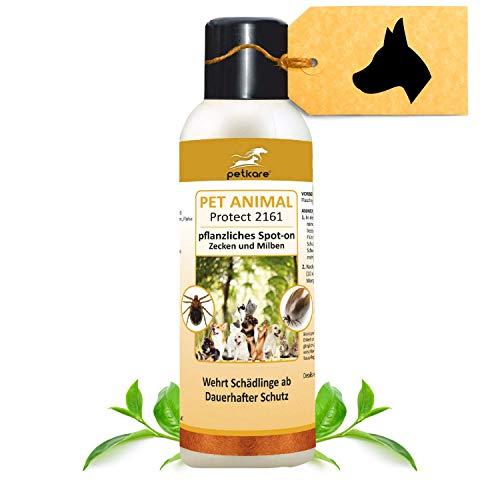 Peticare Spot-On Zecken-Schutz für Hunde, Katzen - Schutz für eine Saison, auch gegen Milben und Flöhe, pflanzliche Inhaltsstoffe, ohne giftige Chemie - petAnimal Protect 2161 (100 ml)