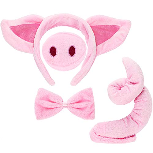 Norme Set di Costumi Animali Orecchie degli Animali Naso Coda e Cravatta a Farfalla Accessori per Costumi di Animali per Bambini(Costume di Maiale).
