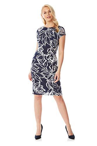 Roman Originals Dames Gebloemde jurk met rechte taille - Dames getailleerde kleding met korte mouwen met ronde hals, kantoor, formele gelegenheden, business, alledag, met patroon