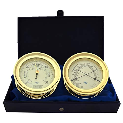 """Master-Mariner All Aboard Collection, Nautical Windlass Gift Set, 5.85"""" Diameter Barometer and Comfort Meter Instruments, Gold Finish, Blue Peter dial"""