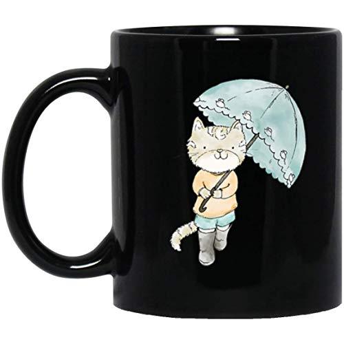 Leuke kat paraplu grafische waterkleur GIF 11 oz. Zwarte mok