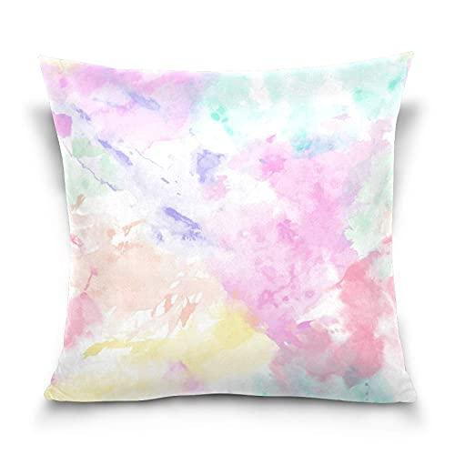 funda almohada Cuadrado decorativo con efecto tie dye arcoíris fundas de almohada 45x45 CM Funda Cojin para Boho Modern Homes Sofá Dormitorio Coche