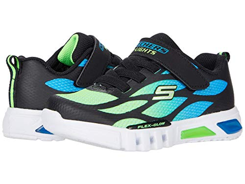 Skechers Kids Baby Boy's Sport Lighted - Flex-Glow 400016N (Toddler) Blue/Black/Lime 9 Toddler M