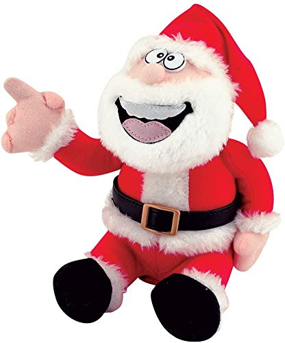 4E's Novelty Farting Animated Santa Claus, Pull My Finger, Talking Animated Farting Doll, Christmas Gag Gift, White Elephant Gift, Funny Plush Stuffed Toys for Kids