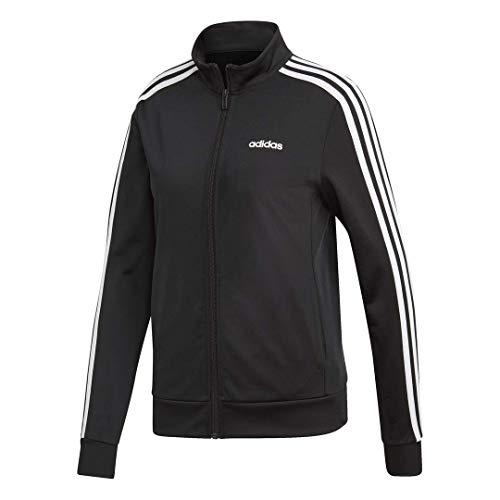 adidas Damen Essentials 3-Streifen Trainingsjacke, Damen, Jacke, Essentials 3-stripes Tricot Track Jacket, schwarz / weiß, Medium