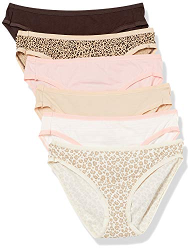 Amazon Essentials Women's Cotton Stretch Bikini Panty, 6-Pack Leopard Assorted, Small