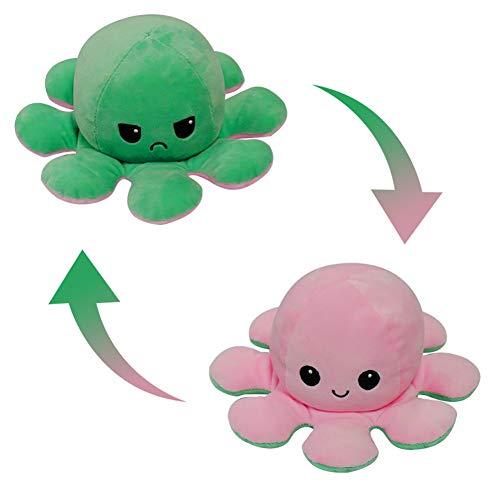 FUSIYU Peluche de Pulpo Reversible, Juguete de Peluche Abatible de Doble Cara Felpa Bonito Muñeco Juguete para Mascota, para Niños Adultos para Regalo de Cumpleaños Navidad,Rosa Claro-Verde
