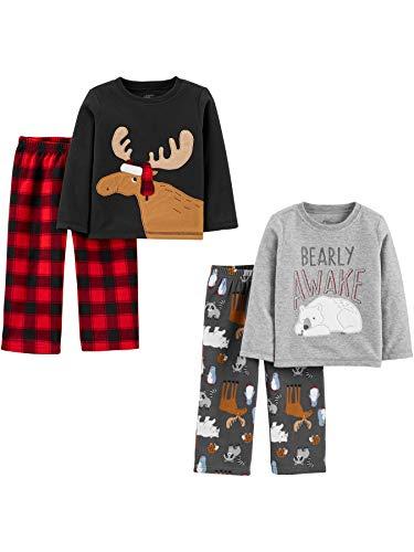 Simple Joys by Carter's 4-Piece Pajama Set (Poly Top & Fleece Bottom) Sets, Alce/Bearly Awake, 2...