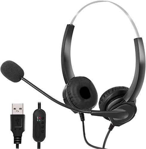 Auriculares USB con micrófono Cancelación de ruido y controles de audio, auriculares estéreo para PC para negocios Skype UC Lync Softphone Call Center Ordenador de oficina, voz más clara