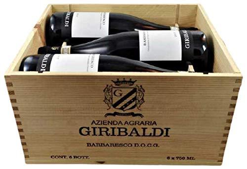 6 Flaschen Barbaresco DOCG 2017in edler Holzkiste von Mario Giribaldi (6x0,75l), trockener Rotwein aus dem Piemont