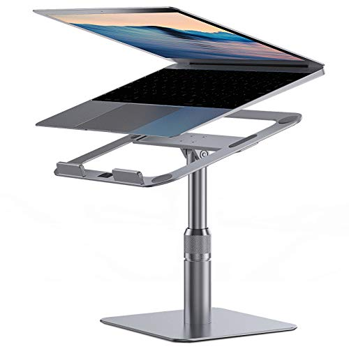 Laptop Stand, Almoz Swivel Laptop Riser Stand for Desk, 360-Rotating Laptop Stand Adjustable Height 6-9', Aluminum Computer Stand Compatible with MacBook Pro Air Dell HP XPS 10-17inches (Silver)