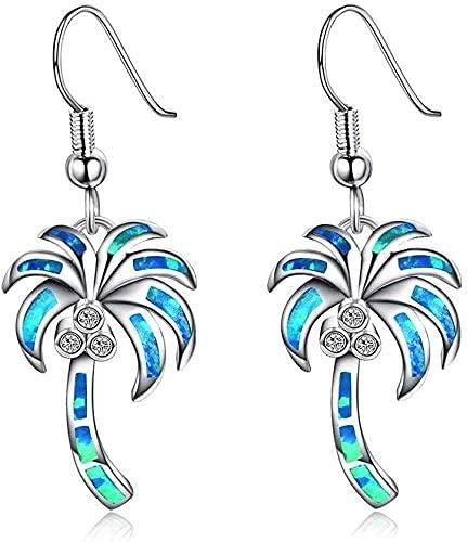 OUHUI Pendientes Colgantes Pendientes de Gancho Joyas de Niña Pendientes de Árbol de Coco Ópalo Artificial Blanco para Fiestas Y Bodas Moda/Azul
