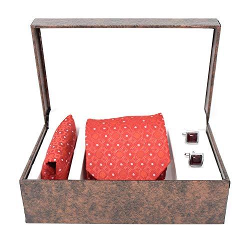 KANTH LANGOT Jacquard Krawatte Einstecktuch & Manschettenknöpfe Set Gr. Einheitsgröße, Quadratische dunkelrote Kastanienbraune Manschettenknöpfe