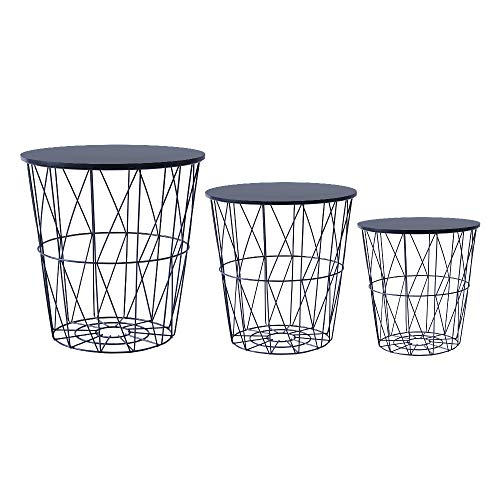 Saadiya Round Nested Tables Nested of 3 Tables with Metal Wire Frame Removable Top Nesting End Table Coffee Table Storage Basket for Living Room Bedroom Reception Room
