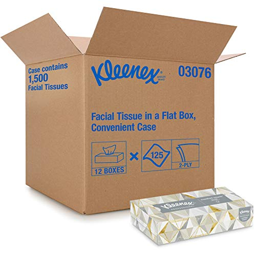 Kleenex Professional Facial Tissue for Business 03076 Flat Tissue Boxes 12 Boxes/Convenience Case 125 Tissues/Box