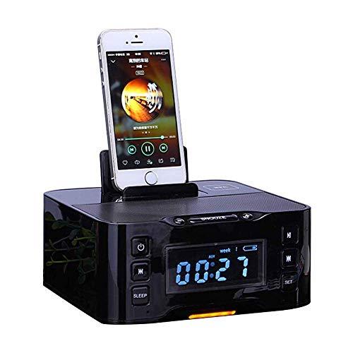 Raidos, A9 Altavoz Bluetooth inalámbrico portátil NFC Radio FM Reloj Despertador Bluetooth 8 Pines y Base de Micro Cargador HiFi Calidad de Sonido Micrófono HD para teléfono Inteligente Dispositivo