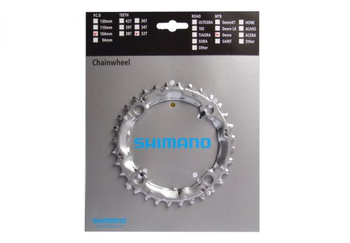 Shimano Kettenblatt 32 Z.Stahl silb. LK4x104 M440/480/510/540/570/571/750/751, Y1DS98010