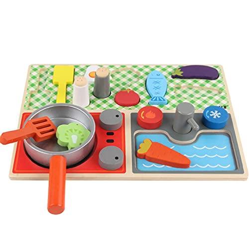 1Set Spielzeug Küche Set Spielhaus Spielzeug Kleinkind Küche Gemüse Essen mit Holzpfanne Mädchen Rollenspiel Brettspiel Rollenspiel so tun als Spielspielzeug